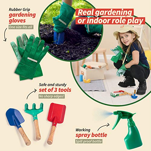 Born Toys Kids Gardening Set, Kids Gardening Tools with rake, Kids Gardening Gloves and Washable Apron Set for Real or Sand Gardening and Dress up Clothes or Role Play