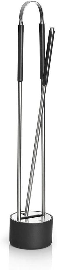 Kaminbesteck 3-teilig Blomus 65339 CANNETO Stahl pulverbeschichtet H/öhe 73 cm /Ø 13 cm Edelstahl matt