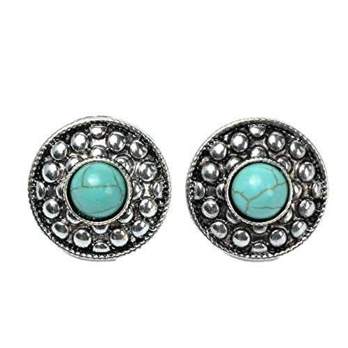 Ginasy Vintage Design Sterling Silver Inlaid Imitation Turquoise Round Turquoise Stud Earrings (Queen Mary Tiara)