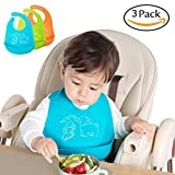 Waterproof Silicone Baby Bibs U-LOVE Adjustable Soft Feeding Bibs,Easy Clean Bibs Keep Stains Off for Infants & Toddlers (3 PACK, B001)