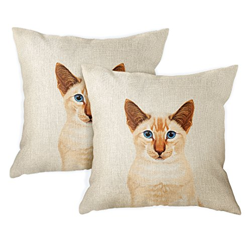 FINCIBO Sofa Pillow Cases, Decorative Throw Pillow Cushion Covers for Home Office 18 x 18 Inch (2 Piece Set), Cute Red Point Siamese Kitten Cat