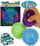 Toysmith Light-Up Flashing Spiky Ball Blue, Green & Purple Bundle - 3 Pack