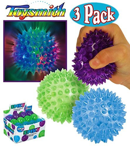 Toysmith Light-Up Flashing Spiky Ball Blue, Green & Purple Bundle - 3 Pack]()
