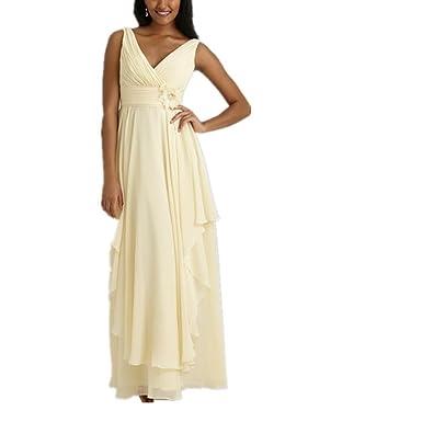 Amazon.com: V-neck Pale Yellow Chiffon Prom Dresses Party Dresses ...