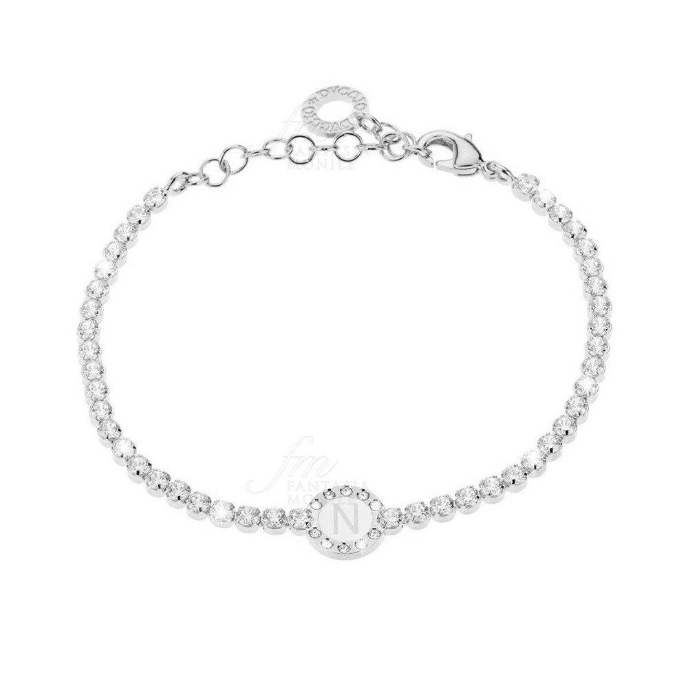 Pulsera tenis mujer Silver esmalte blanco cristales letra N dvccio uox5tfm   Amazon.es  Joyería ea00ab4f5bcc7