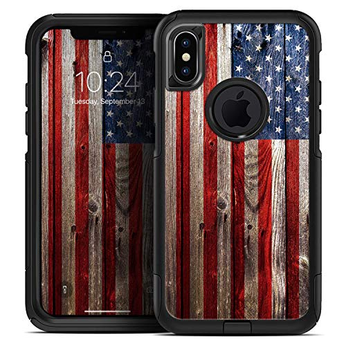 Wooden Grungy American Flag - Skin Decal Kit for The iPhone 6 or iPhone 6s OtterBox Defender Case