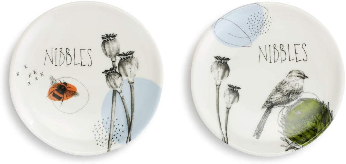 Nibbles Nature Floral White 5 x 5 Melamine Wine Appetizer Plates Set of 2