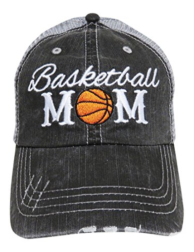 Embroidered Sports Mom Series Distressed Look Grey Trucker Cap Hat Sports (Basketball - Hat Basketball Embroidered