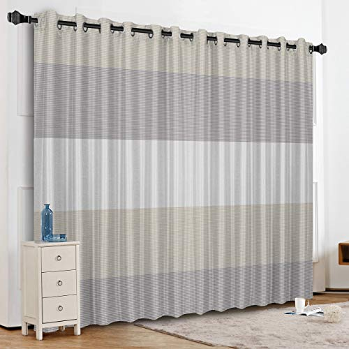 White Gray Stripe Silk - KAROLA Blackout Curtains Window Treatments for Living Room/Bedroom Room Darkening Grommet Drapes and Curtains,Gray and White Stripe 52