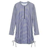 SwimZip Womens Swimsuit Swim Dress Cover Up UPF 50+ White Stripe XS