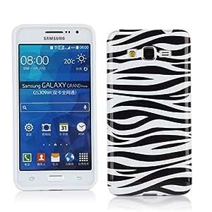 Kit Me Out ES ® Funda de gel Gel TPU decorado en molde (IMD) + Cargador para el coche + Protector de pantalla con gamuza de microfibra para Samsung Galaxy Grand Prime G530 - Negro, Blanco Cebra