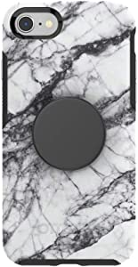 Otter + Pop for iPhone SE, 7 and 8: OtterBox Symmetry Series Case with PopSockets Swappable PopTop - White Marble and Aluminum Black