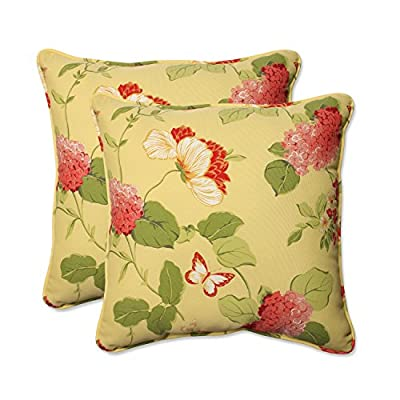 """Pillow Perfect Outdoor/Indoor Risa Lemonade Throw Pillows, 18.5"""" x 18.5"""", Gold, 2 Pack - Includes two (2) outdoor pillows, resists weather and fading in sunlight; Suitable for indoor and outdoor use Plush Fill - 100-percent polyester fiber filling Edges of outdoor pillows are trimmed with matching fabric and cord to sit perfectly on your outdoor patio furniture - living-room-soft-furnishings, living-room, decorative-pillows - 51BGn5hqntL. SS400  -"""