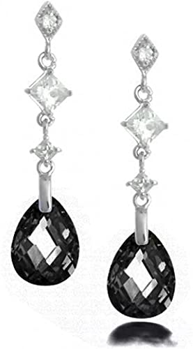011 Drop Dangle Black Faceted Bead Sparkle Earrings