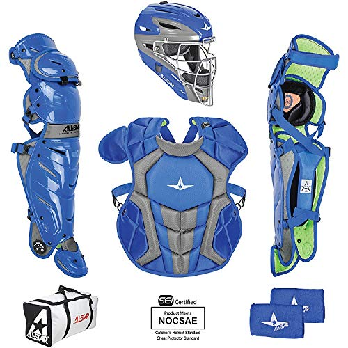 All-Star System7 Axis Intermediate Catchers Set Royal/Grey