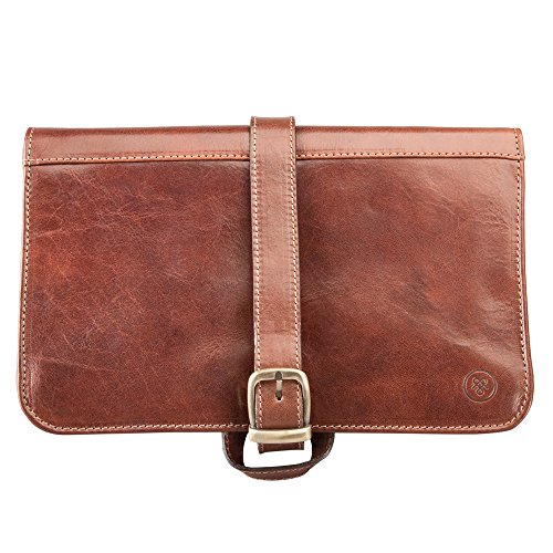 Maxwell Scott Luxury Tan Leather Hanging Toiletry Bag (The Pratello) - One Size by Maxwell Scott Bags