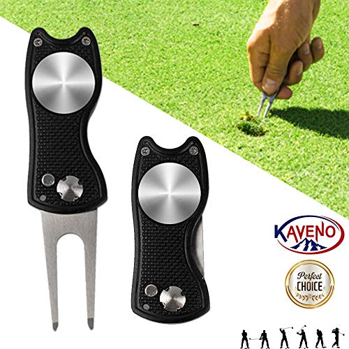 kaveno Golf Divot Repair Tool, Foldable Magnetic Pop-up Button Stainless Steel Switchblade & Detachable Golf Ball Marker (Black Fish 1 Set)