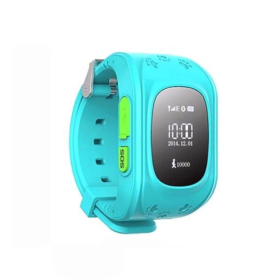 Amazing GPS Rastreador NIÑOS reloj inteligente reloj de pulsera teléfono anti-lost SOS pulsera azul