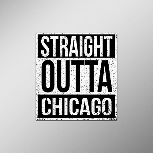 (Straight Outta Chicago Vinyl Decal Sticker | Cars Trucks Vans SUVs Laptops Walls Windows Cups | Full Color | 4.5 X 5 Inches | KCD2095)