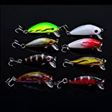 "WALLER PAA Lot 8pcs Plastic Minnow Fishing Lures Floating Rattles 5cm 1.97"" 3.6g"