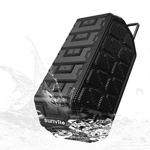 Sunvito Portable Bluetooth 4.0 Speaker,Waterproof Speaker with MIC,Enhanced Bass with 6W Audio Output from Dual 3W Driver Speaker,Work with iPhone iPad Samsung Galaxy Note,HTC and more,Black