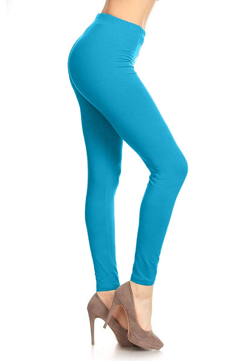 SXL128-Turquoise Basic Solid Leggings, Plus Size by Leggings Depot