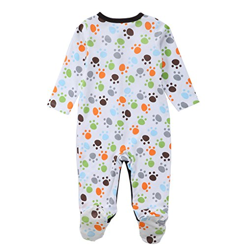 Amazon.com: Chilie Baby Footed Pajamas Sleep Cotton Button Front Long Sleeve Cute Small Footprint Newborn Boy Garment 4-6 months: Home & Kitchen