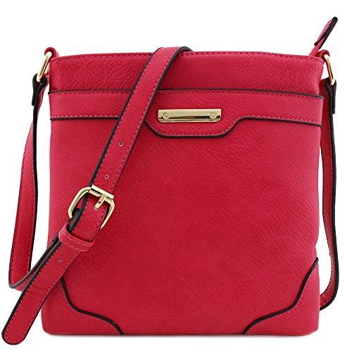 Women's Medium Size Solid Mordern Classic Crossbody Bag with Gold Plate (Fuchsia)