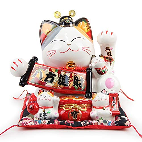 ZJHJH Japanese Large Lucky Cat Ornament Ceramic Piggy Bank Creative Home Decoration Shop Opening Gifts Royal Cat,Large