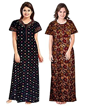 YUKATA Women's Cotton Printed Above knee Nighty(Pack of 2)(YT_1(NEW )_Multicolored_Free Size)