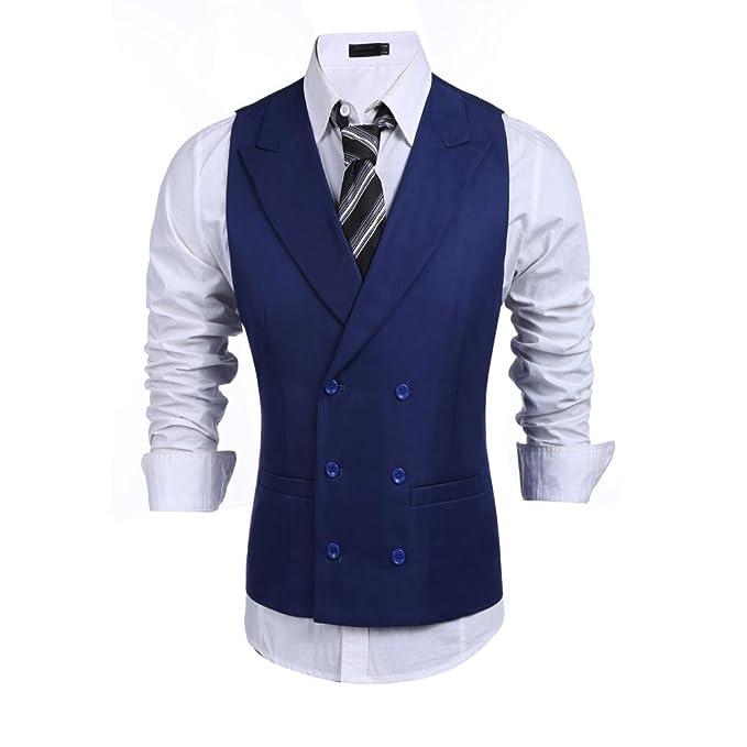 modfine Hommes Gilet de Costume Slim Fit Sans Manche Veste pour Business   Mariage  Soirée 1fb73208116