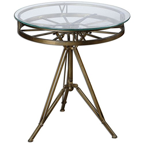 Uttermost Metal Pedestal (Uttermost 24398 Tevi Brass Clock Table)