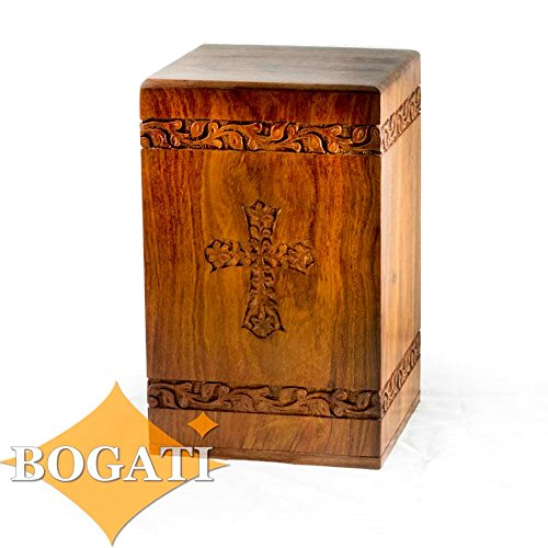 Rosewood Handcarved Tower Cross- 11'' tall