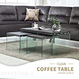 Glass Coffee Table in Living Room Mecor Set of 3 Nesting Table Side End Coffee Table Wood Top Tempered Glass Legs Living Room Furniture Black Walnut