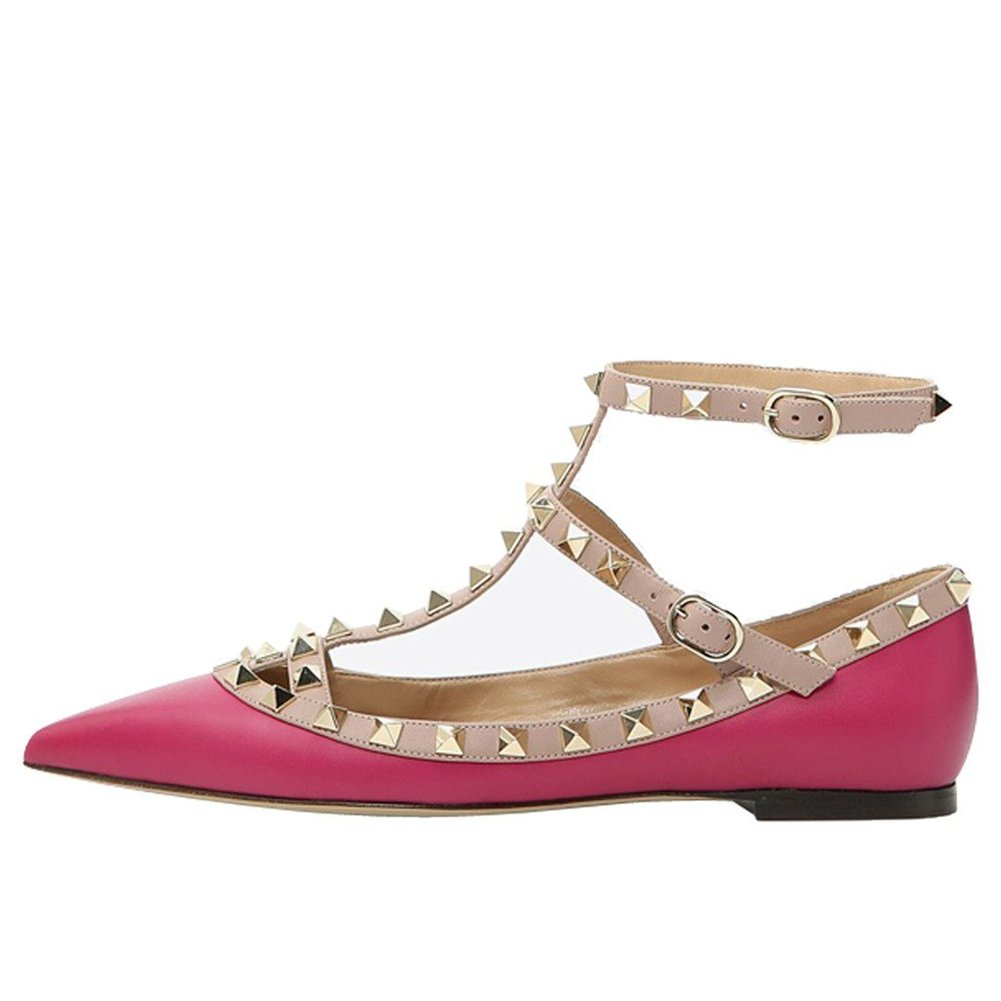 VOCOSI Women's Ankle Strap Studded Pointed Toe Pumps Rivets T-Strap Flat Pumps Dress B0794YL7Y8 15 B(M) US Rose(manmade Leather With Gold Rivets)
