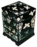 Mother of Pearl Buttefly Design Jewelry Box Display with 3 Drawer Nacre Jewellry Case 3color (Black)