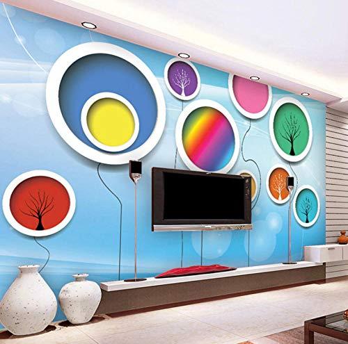 Mural Wallpaper Size 3D Abstract Circles Mural Wall Paper Flower Tree Murals for Children's Room Bedroom TV Sofa Background Wallpaper-200x170cm