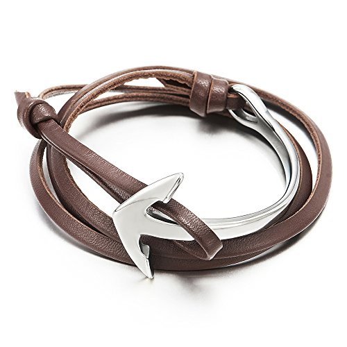 Mens Women Multi-strand Brown Leather Wrap Bracelet Wristband with Steel Marine Anchor Hook Closure