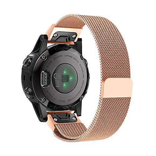 20mm Width Metal Watch Band for Garmin Fenix 5S Band, Easy Fit Milanese Stainless Steel Replacement Bands Bracelet Strap for Garmin Fenix 5S/5S Plus (Rose Gold)