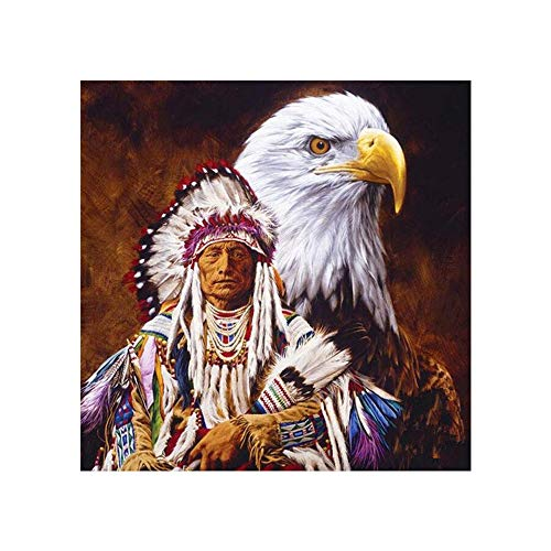 Native American Paint - Paint-by-Number Kits for Adults - Native American and Eagle - Includes Brushes, Paints and Numbered Canvas - 16x20 Inch - Great for Kids and Adults,Without Frame