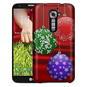 LG Verizon G2 Case, Slim Fit Snap On Cover by Trek Christmas Ornament on Red Case