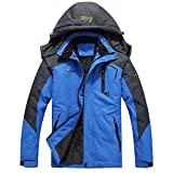 iDWZA Fashion Women Men's Autumn Winter Assault Clothing Thickened Fluffy Hooded Coat(Blue,US M/CN L)