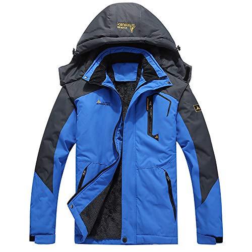 (DaySeventh Men's Waterproof Windproof Rain Snow Jacket Hooded Fleece Ski Coat Blue)