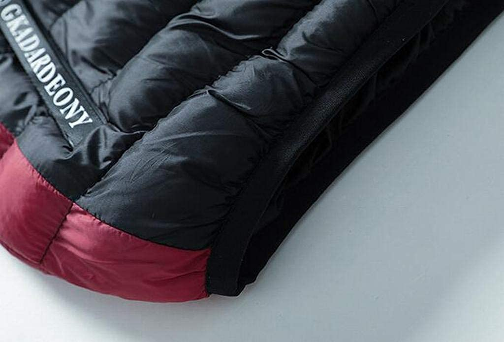 Jotebriyo Mens Thick Color Block Hoodie Winter Down Quilted Jacket Coat Outwear