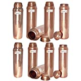 850ml / 28.74oz - Set of 10 - Prisha India Craft ® Pure Copper Water Bottle for Health Benefits - Water Pitcher Bottles - Handmade Christmas Gift Item