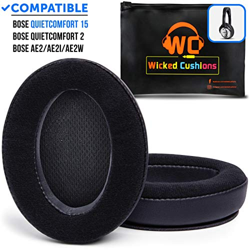 Hybrid Velour Bose Headphones Replacement Ear Pads Made by Wicked Cushions - Compatible with QC15 / QuietComfort 15 / Ae2 / Ae2i / Ae2w / SoundTrue and SoundLink Over-Ear