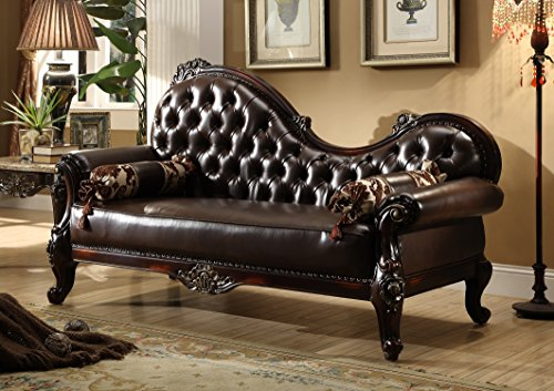 Meridian Furniture 675-CH Barcelona Leather Upholstered Solid Wood Chaise Lounge with Rolled Arms and Traditional Hand Carved Designs, Rich Cherry Finish