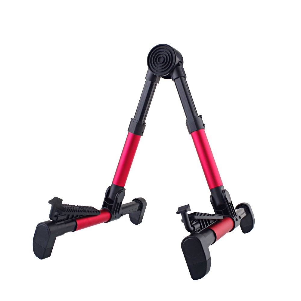 Mugig Stand Upgraded A-Frame Folding Travel Instruments Stand for Acoustic/Electric/ Classical Guitar, Bass, Banjo (Red) MS-1