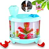 YJY 460mL Aquarium Air Purifier Humidifier, Fake Fish Bowls Aquatic Pets Home Decor, Colorful LED Night Light USB 6-12 Hours Timmer, Ultrasonic Oxygen Anion Ionizers Therapy - Sky Blue