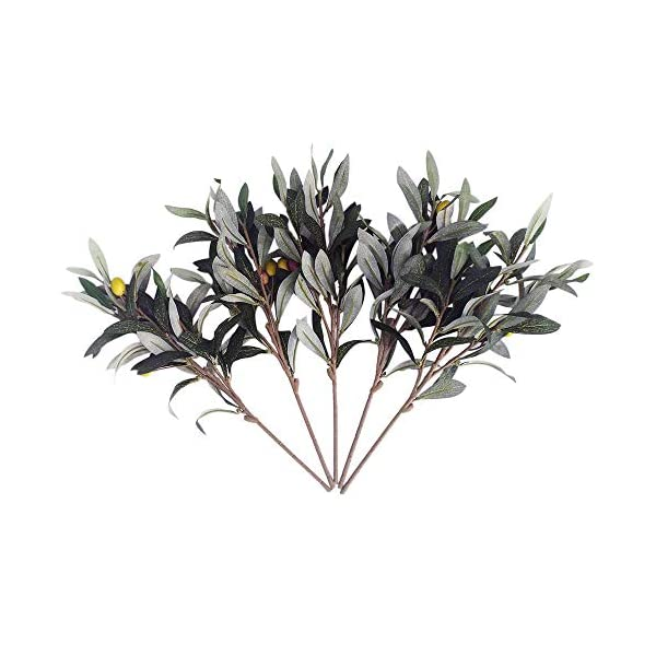 Artificial Olive Leaves Branches (5pcs) and Stems with Fruit for Decoration Faux Tree Plant Fake Olives Leaf Spray Home Kitchen Party Plastic Decor AF43